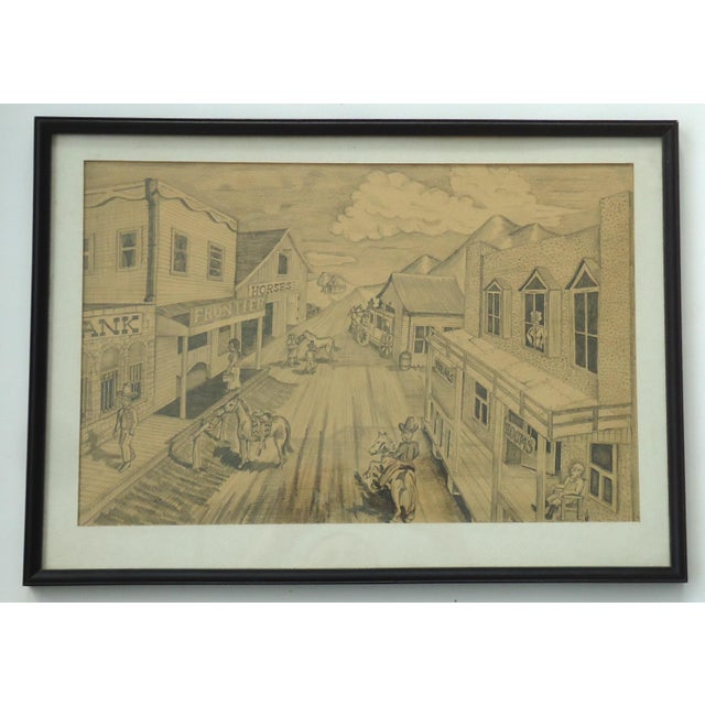 """A vintage pencil drawing of an old west town by Bob Everett. Framed size 20.5"""" x 14.9"""", sight size 17.7"""" x 11.5""""...."""