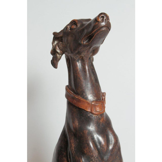 19th Century Italian Carved Wood Seated Greyhound Sculpture For Sale - Image 10 of 13