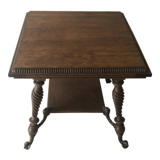1920s Georgian Lionshead Claw Foot Accent Table For Sale