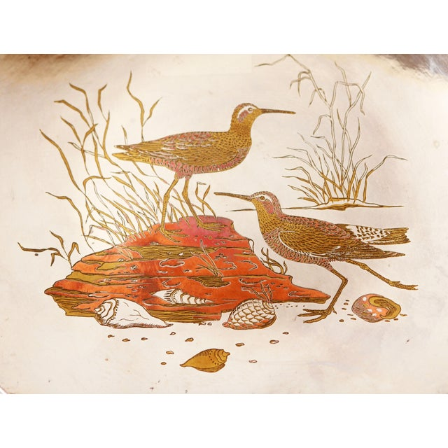 Mid 20th Century Silver Plated Mixed Metal Brass & Copper Audubon Plates for Tiffany & Co. - a Pair For Sale - Image 5 of 12