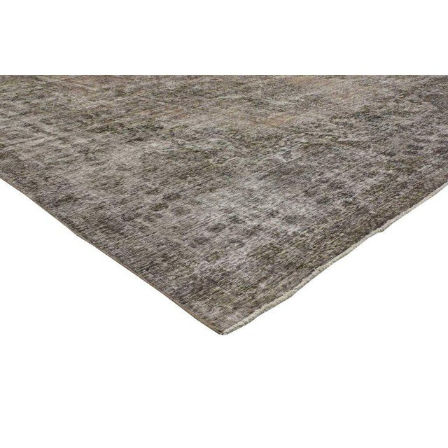 Bauhaus 20th Century Rustic Farmhouse Style Distressed Persian Tabriz Area Rug For Sale - Image 3 of 5