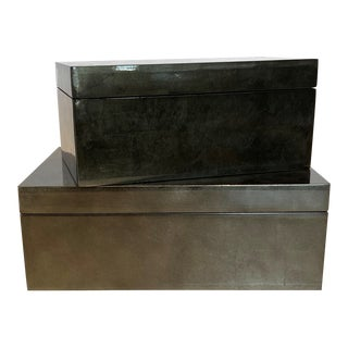 Gunmetal Silver-Leaf Boxes - A Pair For Sale