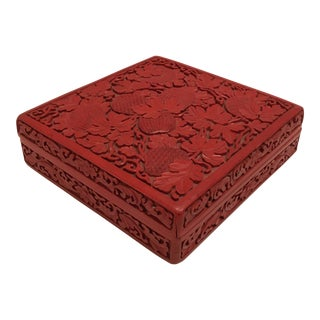 Vintage Cinnabar Carved Covered Box For Sale