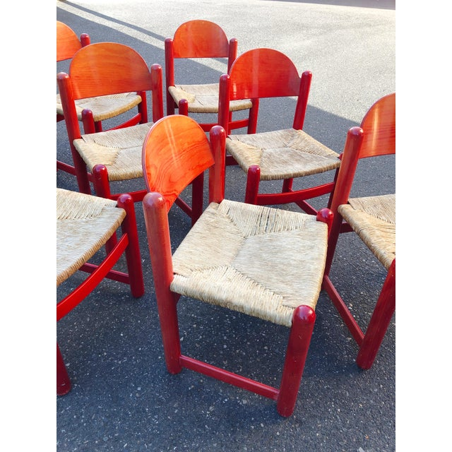 Hank Lowenstein Rush Seat Dining Chairs Made in Italy- Set of 8 For Sale In Portland, OR - Image 6 of 13