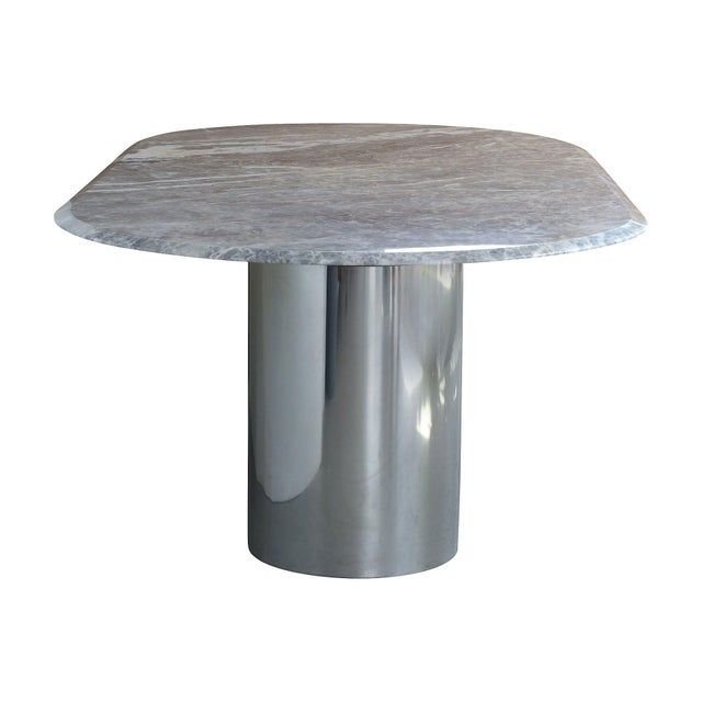 Chrome & Marble Dining Conference Table by Brueton - Image 3 of 6