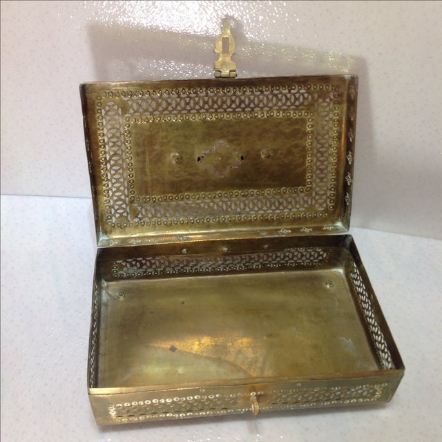 Ornate Vintage Hinged Brass Box - Image 6 of 10