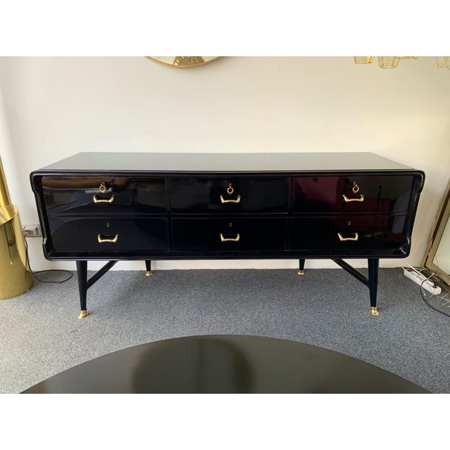 1950s Black Lacquered Sideboard and Brass by Vittorio Dassi, Italy, 1950s For Sale - Image 5 of 13