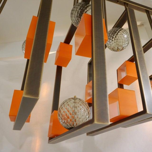 Minimalist Bronze Brass Cubic Chandelier With Orange & White Murano Glass Cubes For Sale In New York - Image 6 of 11