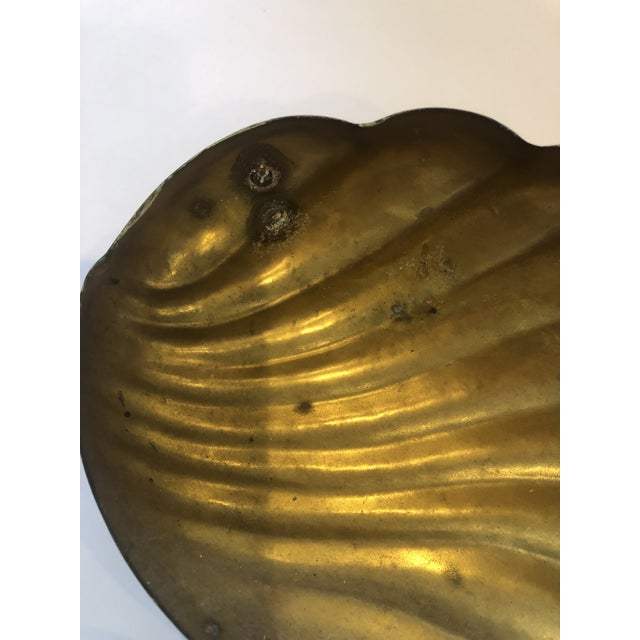 Metal Vintage Brass Shell Box For Sale - Image 7 of 8