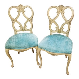 Vintage Wood & Blue Velvet Dining Chairs - Set of 2