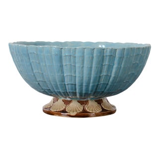 Majolica Shell-Form Punch Bowl Attr. Holdcroft For Sale