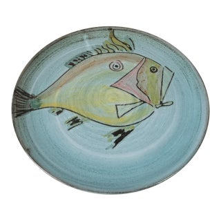 1980s Vintage Hand Painted Fish Motif Decorative Ceramic Plate For Sale