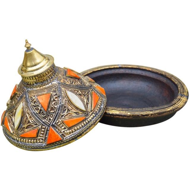 Moroccan Lidded Dish W/ Orange & Brass For Sale