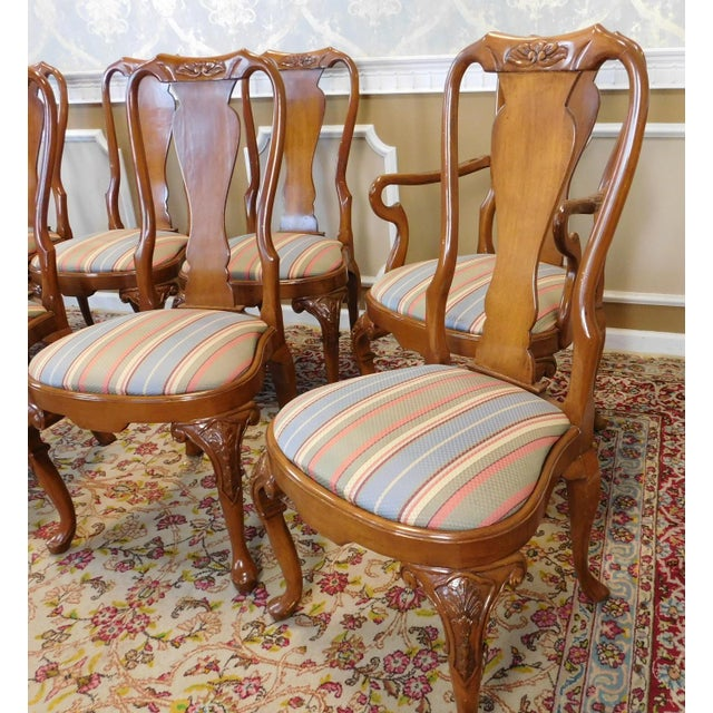1990s Walnut Queen Anne Style Dining Room Chairs