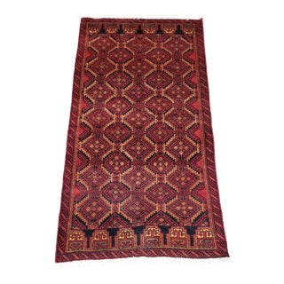 """1950s Vintage Balouchi Persian Rug - 2' 11"""" X 5' 8"""" For Sale"""