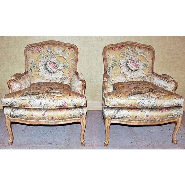 Cotton Bleached Bergere Armchairs Pair For Sale - Image 7 of 7