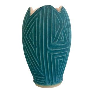 1960s Mid-Century Modern Textured Turquoise Pottery Vase