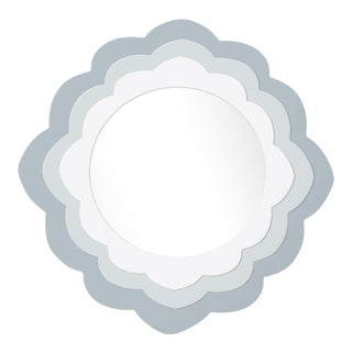 Fleur Home x Chairish Audobon Magnolia Circle Mirror in Parma Gray, 24x24 For Sale