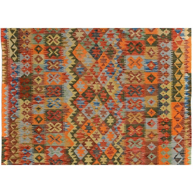 Arya Rickie Blue/Orange Wool Kilim Rug - 4'10 X 6'9 A9368 For Sale - Image 4 of 7