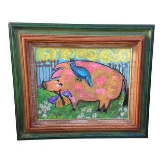 "Boho Chic Primitive Folk Art Original Pig Painting ""Oh Happy Day""in Frame For Sale"