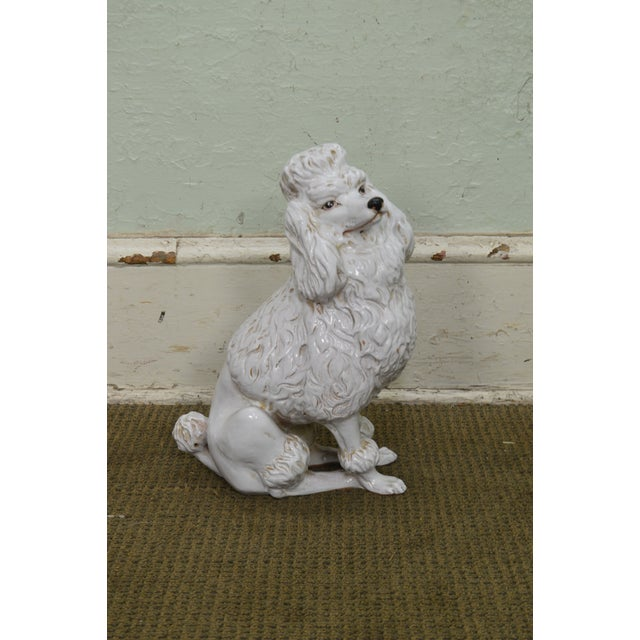 Italian Pottery Vintage White Ceramic Poodle Dog Statue (A) For Sale - Image 4 of 13