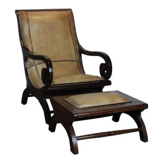 1920s Empire Brown Leather Chair & Ottoman - 2 Piece Set