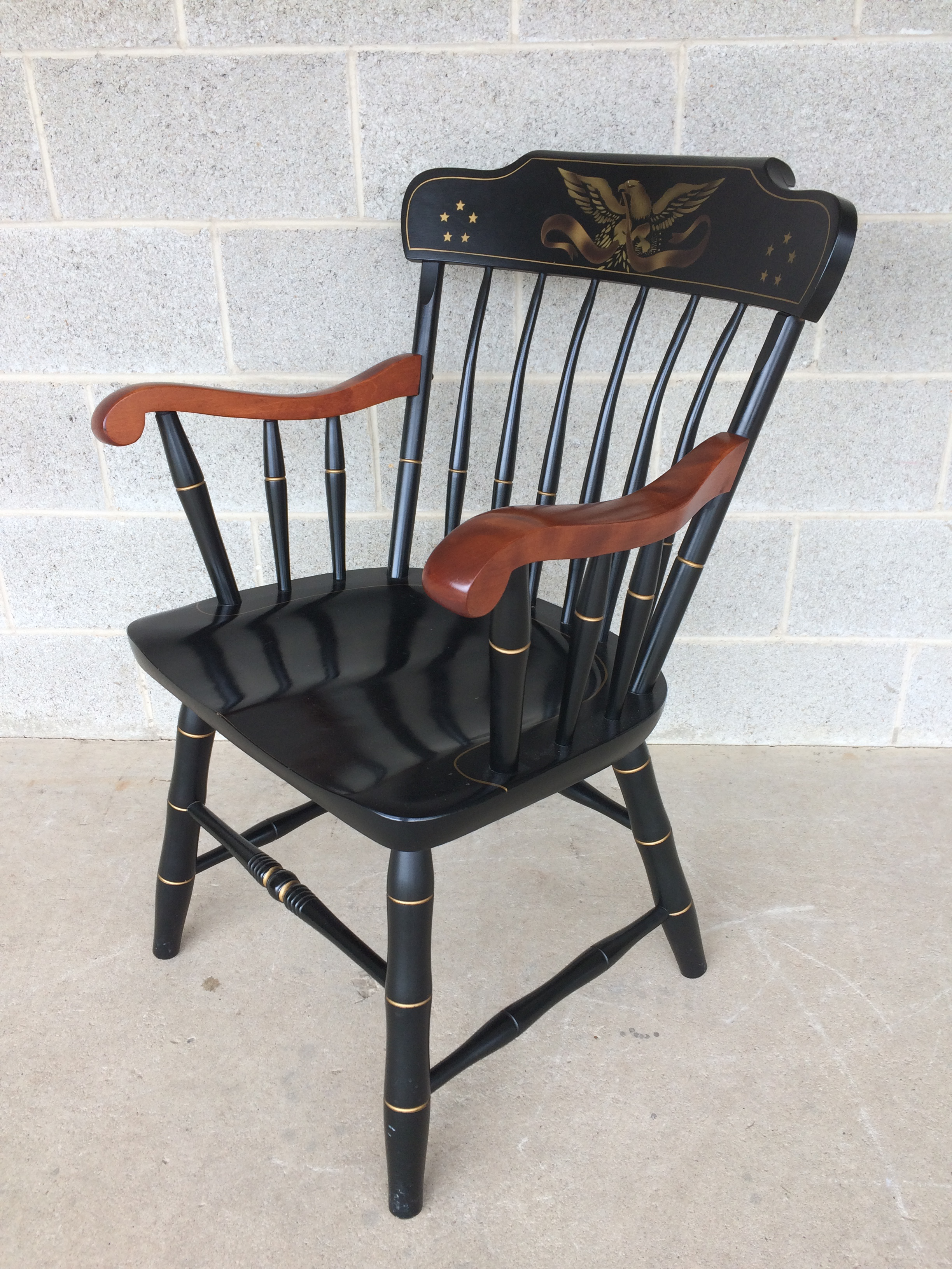 S. Bent Brothers Federal Eagle Stenciled Windsor Style Armchair   Image 2  Of 9