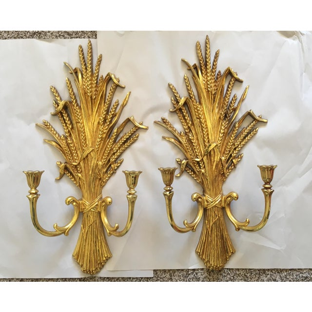 1971 Rococo Gold Flourish Sconces - a Pair - Image 2 of 8