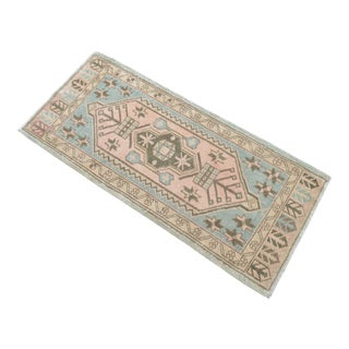 Hand Knotted Door Mat, Entryway Rug, Bath Mat, Kitchen Decor, Small Rug, Turkish Rug - 1′11″ × 4′4″ For Sale