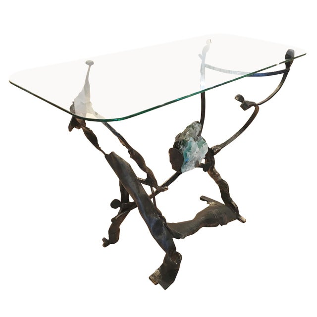 1970s Brutalist Iron and Glass Console by Salvino Marsura, Italy, 1970s For Sale - Image 5 of 8