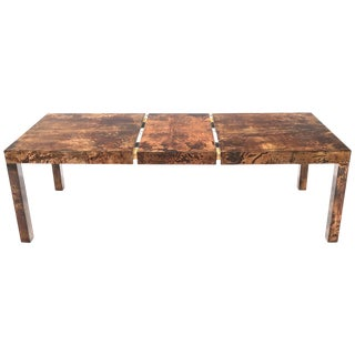 Italian Aldo Tura Goat Skin Parchment Rectangle Dining Table with One Leaf Board For Sale