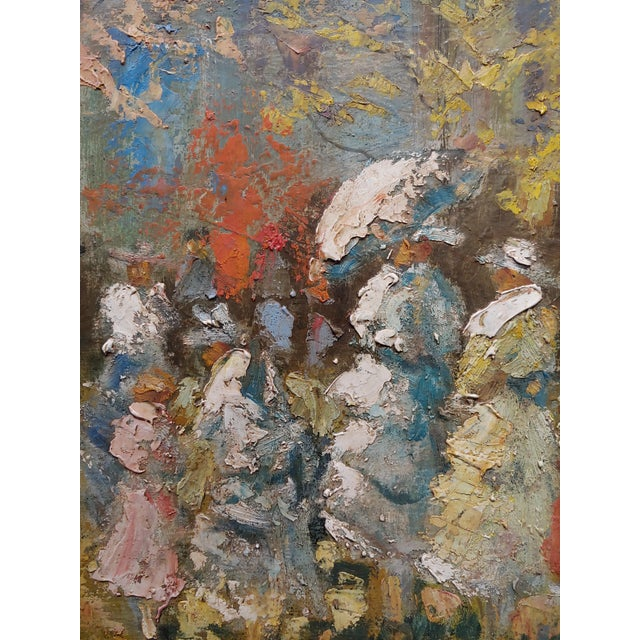 """French Impressionist """"Ladies With Parasol in an Outdoor Party"""" C.1900s For Sale In Los Angeles - Image 6 of 10"""