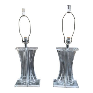 Pair of Mid Century Lucite Lamps For Sale