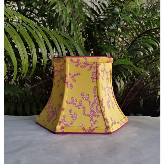 Lilly Pulitzer Fabric Lampshade Yellow Pink Coral Clip On For Sale - Image 11 of 11