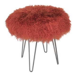 Curly Burnt Orange Hairpin Stool For Sale