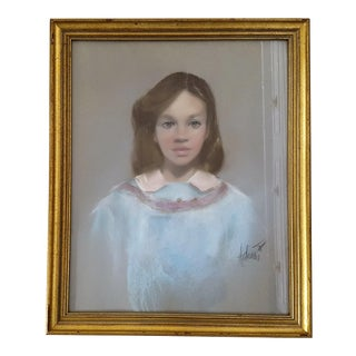 Vintage Chalk Pastel Portrait Girl in Blue Dress Signed For Sale