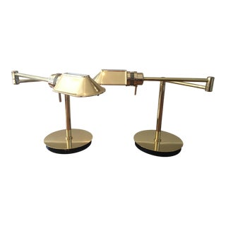 Gold Swing Arm Table Lamps - A Pair For Sale
