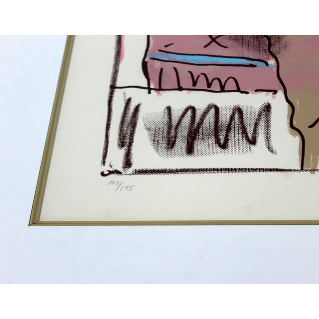 Mid-Century Modern Mid-Century Modern Framed Print by Peter Max Seated Lady Signed Numbered For Sale - Image 3 of 7