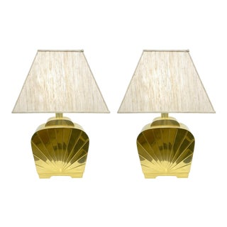 1970s Chapman Vintage Art Deco Hollywood Regency Gold Brass Lamps - a Pair For Sale