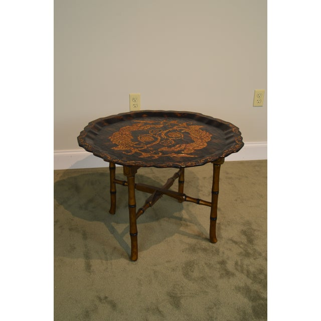 Hollywood Regency Black & Gold Crackle Painted Finish Pie Crust Tray Top Faux Bamboo Coffee Table For Sale - Image 3 of 13