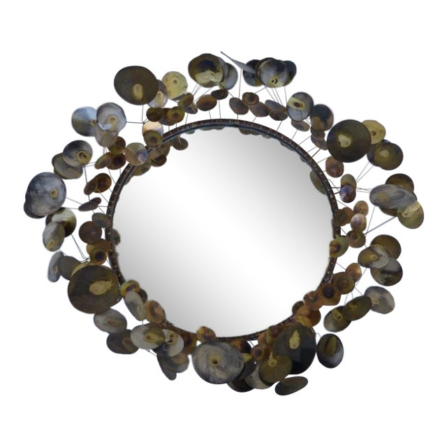 1960's Vintage Curtis Jere Raindrops Circular Mirror For Sale