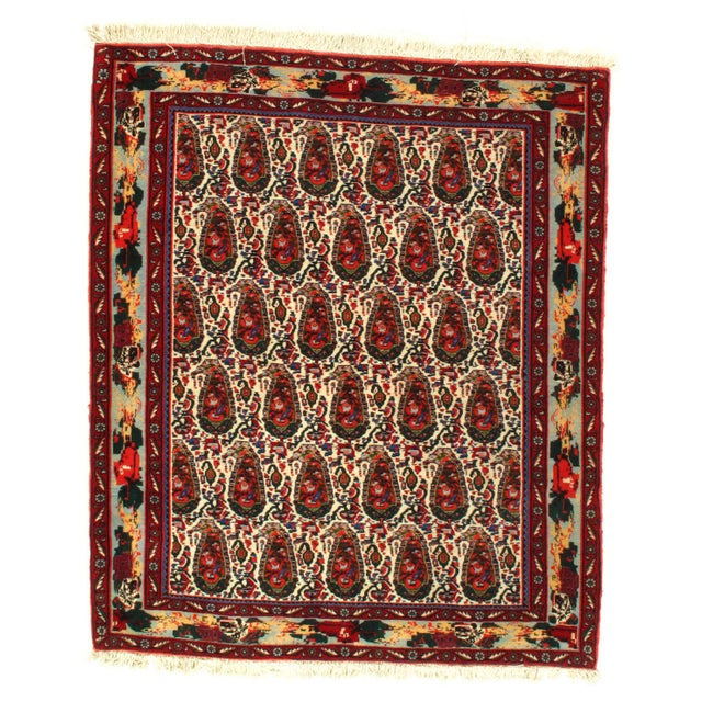 1980s 1980s Persian Seneh Hand-Knotted Rug - 4′2″ × 4′11″ For Sale - Image 5 of 5