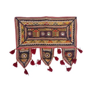 Antique Indian Embroidered Mirrored Valance For Sale