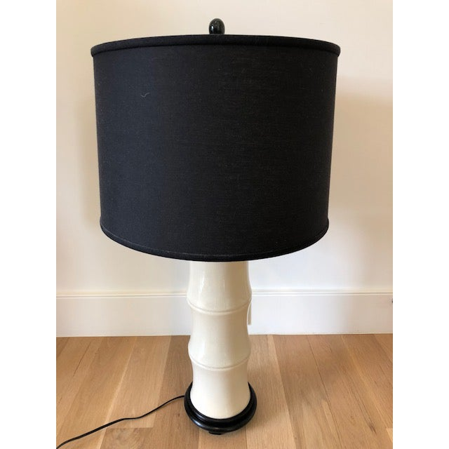 Black Marble Asian Modern Cream Crackle Glaze Table Lamp With Black Linen Tapered Drum Shade For Sale - Image 7 of 7