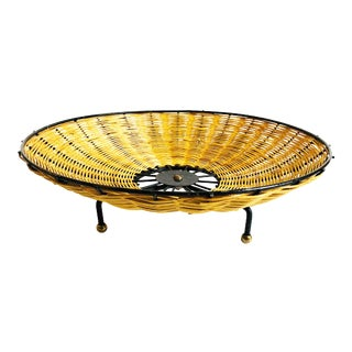 Mid Century Round Wicker Tray on Metal Tripod Base For Sale