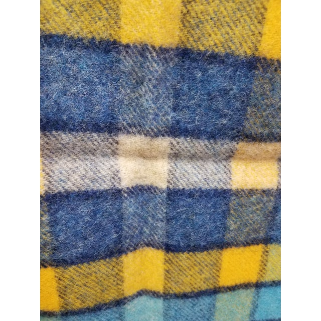 Textile Wool Throw Blues and Yellow Squares - Made in England For Sale - Image 7 of 13