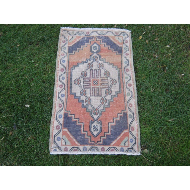 "Vintage Small Turkish Beige Wool Pile Hand Knotted Area Rug - 1'7"" x 2'11"" - Image 6 of 6"