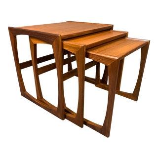 "Vintage British Mid Century Modern Teak ""Quadrille"" Nesting Tables by G Plan - Set of 3 For Sale"