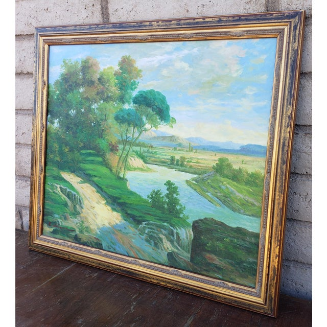 Expressionism Late 20th Century Original Countryside River Landscape Oil Painting For Sale - Image 3 of 12