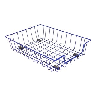 Ink Blue Mid-Century Modern Metal Wire File Basket or Magazine Rack